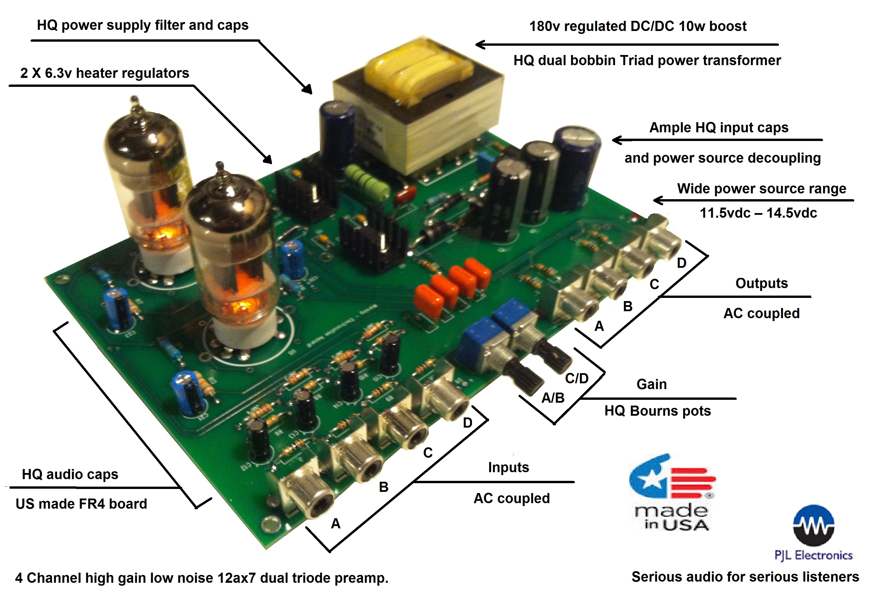 4 Channel 12ax7 Tube Preamp Buffer Pjl Electronics Power Supply Circuit For Low Noise Audio