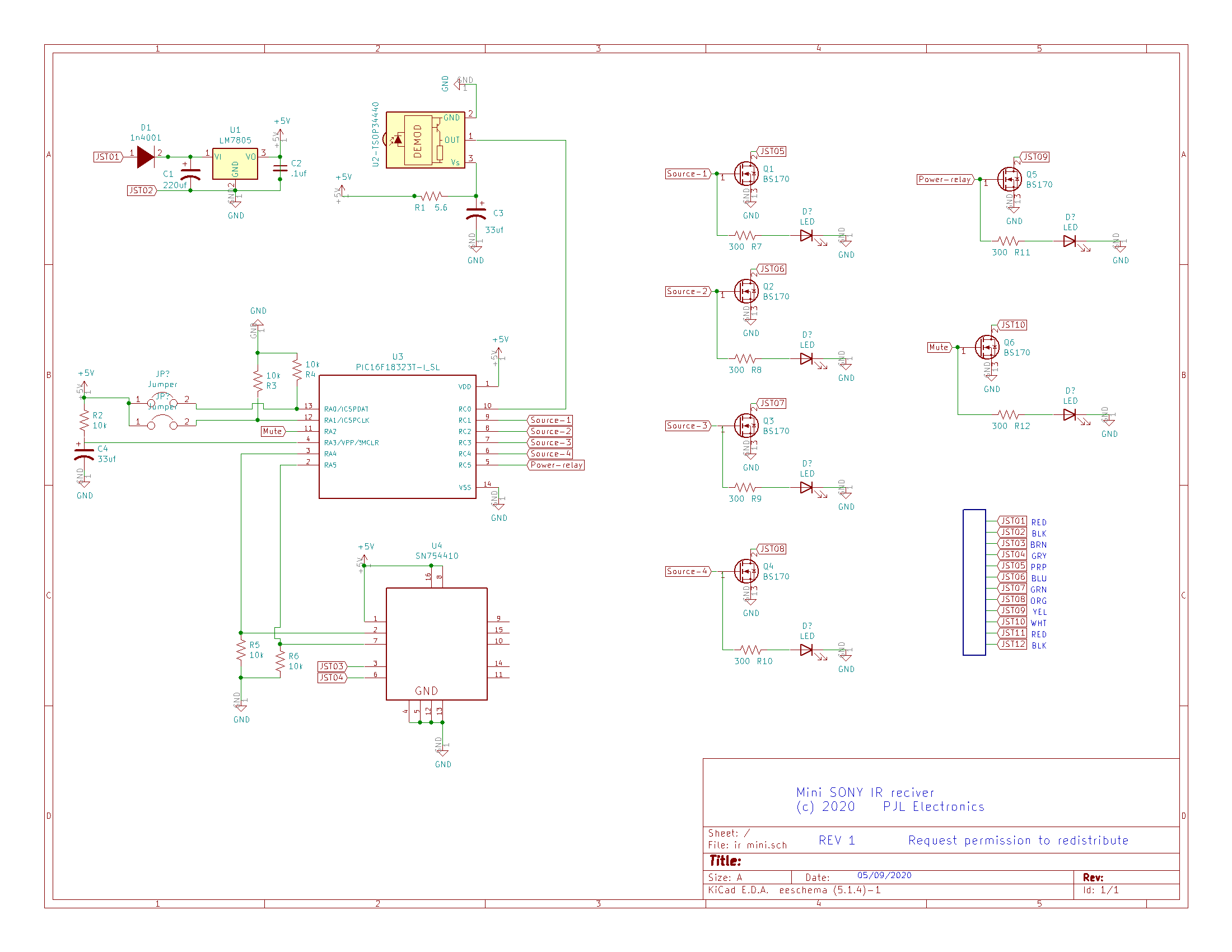 Simple SONY IR schematic