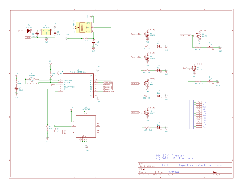 Simple SONY IR schematic